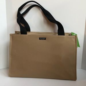 NWT Kate Spade tan nylon tote with black handles